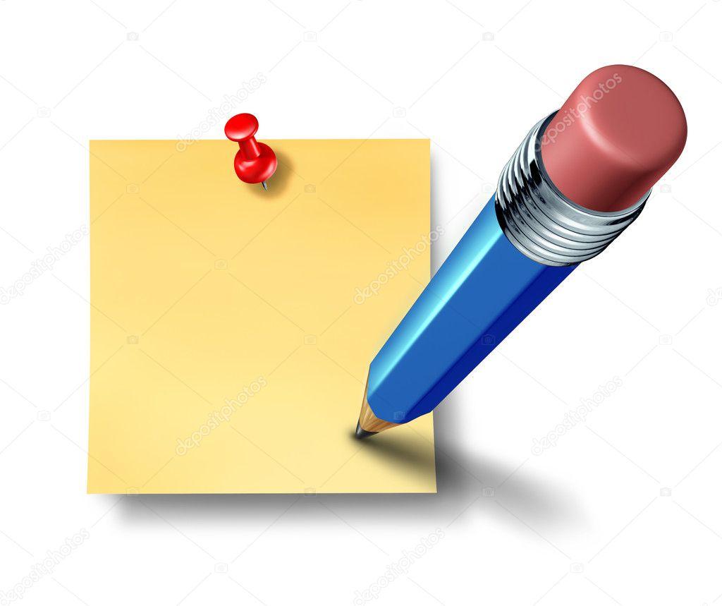 Escribir una nota oficina en blanco con un lpiz azul