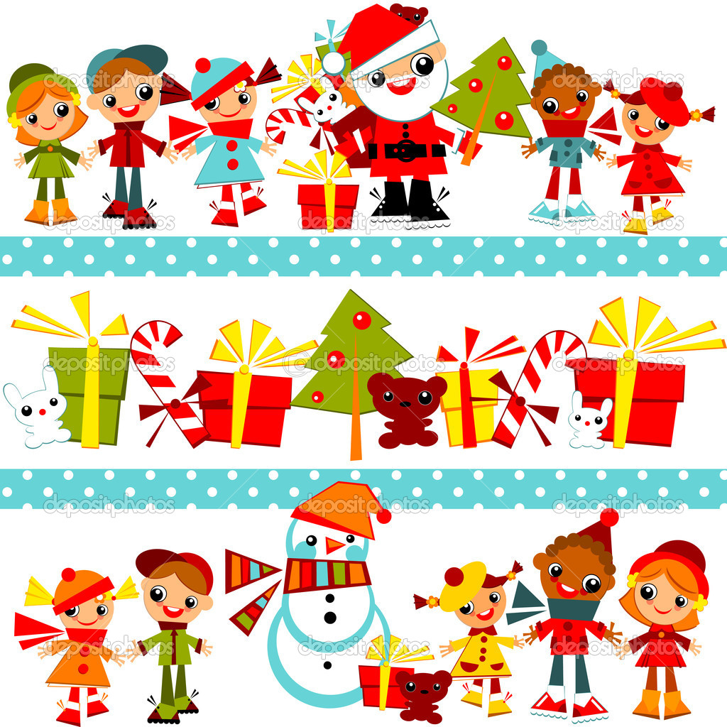 Christmas Background With Kids