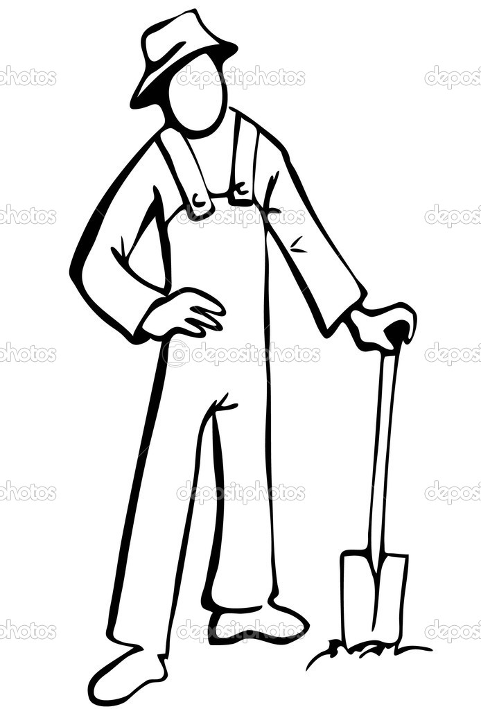Simplified Farmer Illustration In Black And White Stock Vector