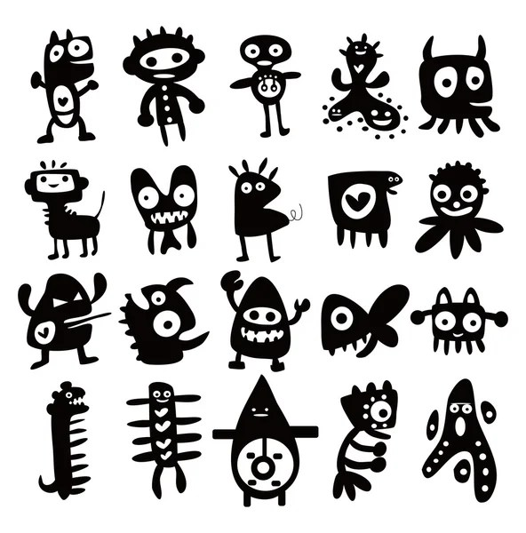 Collection of cartoon funny monsters silhouettes — Stock