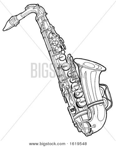 Picture or Photo of Draw of a saxophone made with a 2d