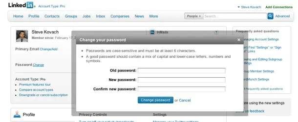 linkedin change password