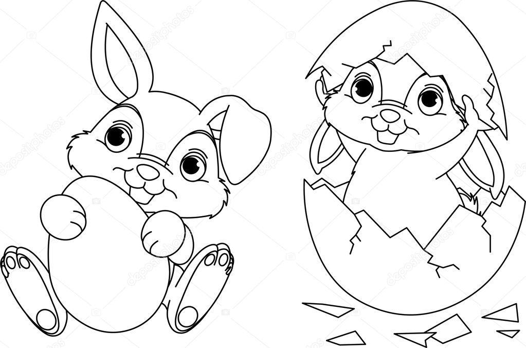 Easter Bunny coloring page — Stock Vector © Dazdraperma