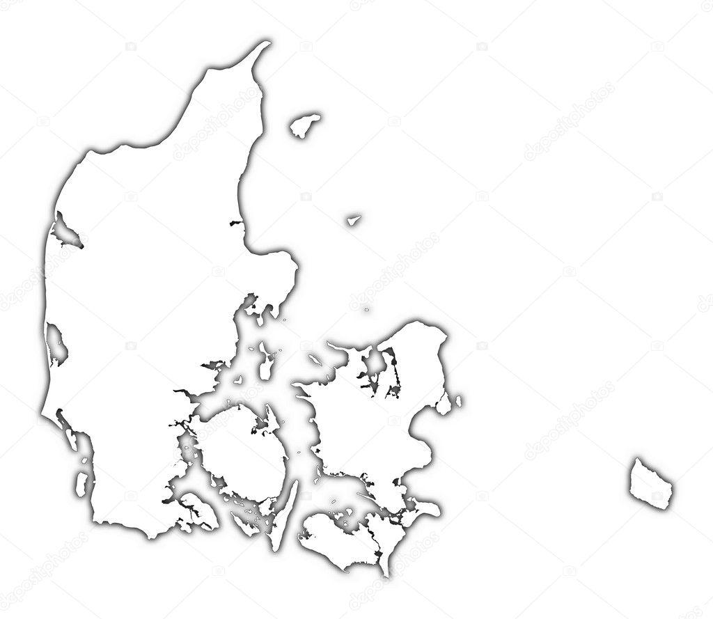 Denemarken Overzicht Kaart Met Schaduw