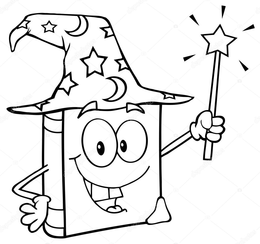 Outlined Wizard Book Cartoon Character Holding A Magic