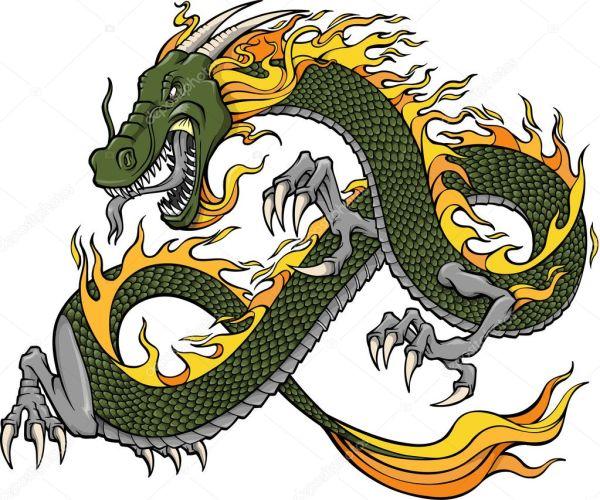Green Dragon Vector Illustration Stock