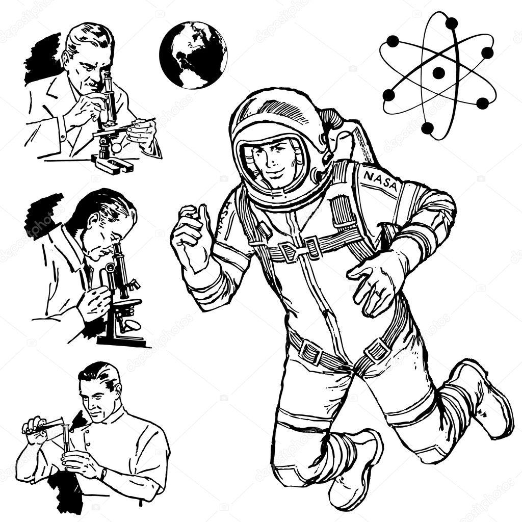 Vector Vintage Science Graphics — Stock Vector
