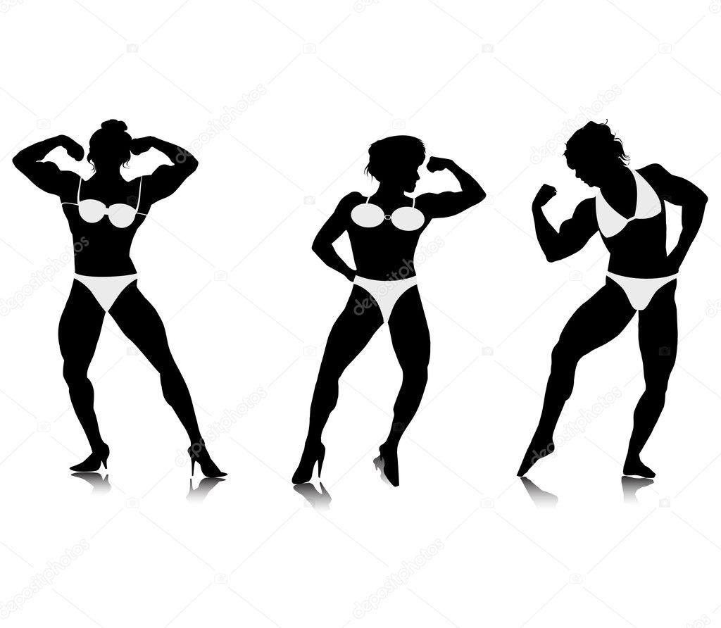 Silhouettes De Jeunes Femmes Bodybuilder
