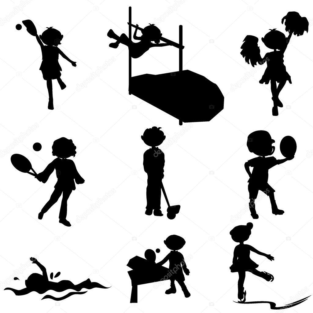 Cartoon Silhouetten Sport Kinderen