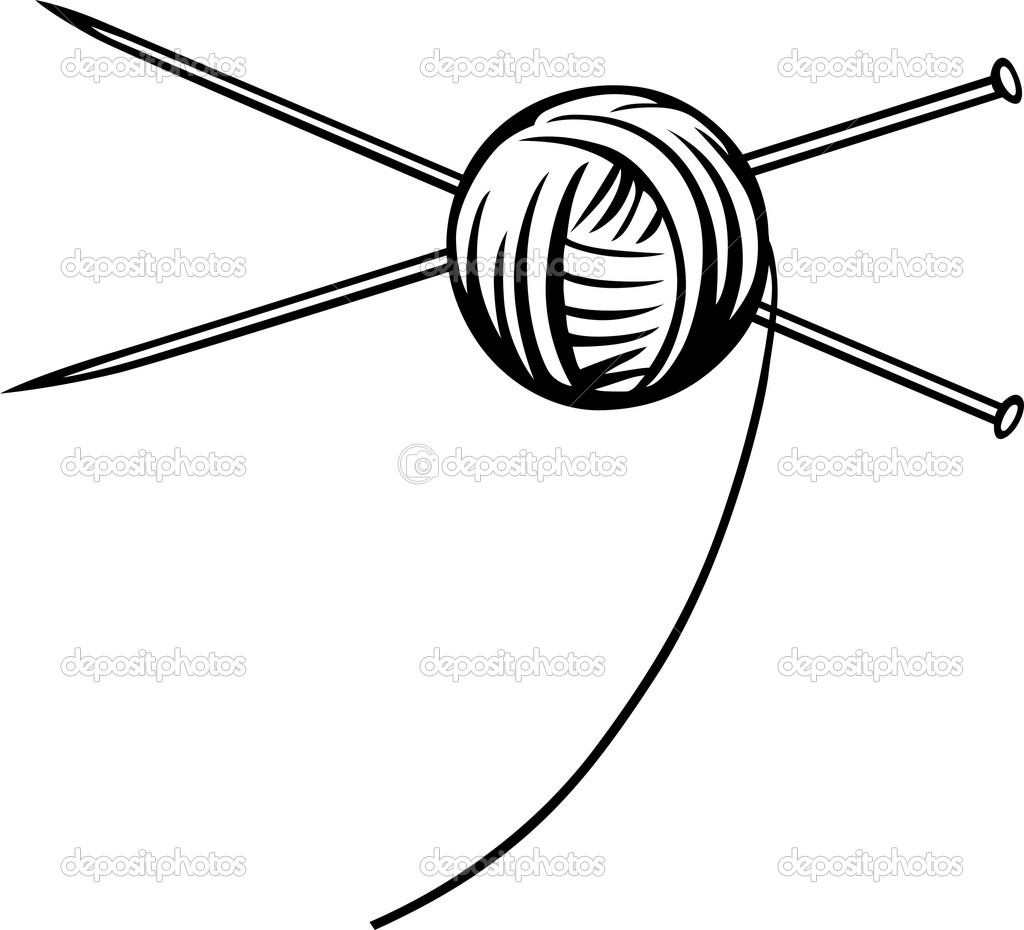 Yarn ball with needles — Stock Vector © Den.Barbulat #10242850