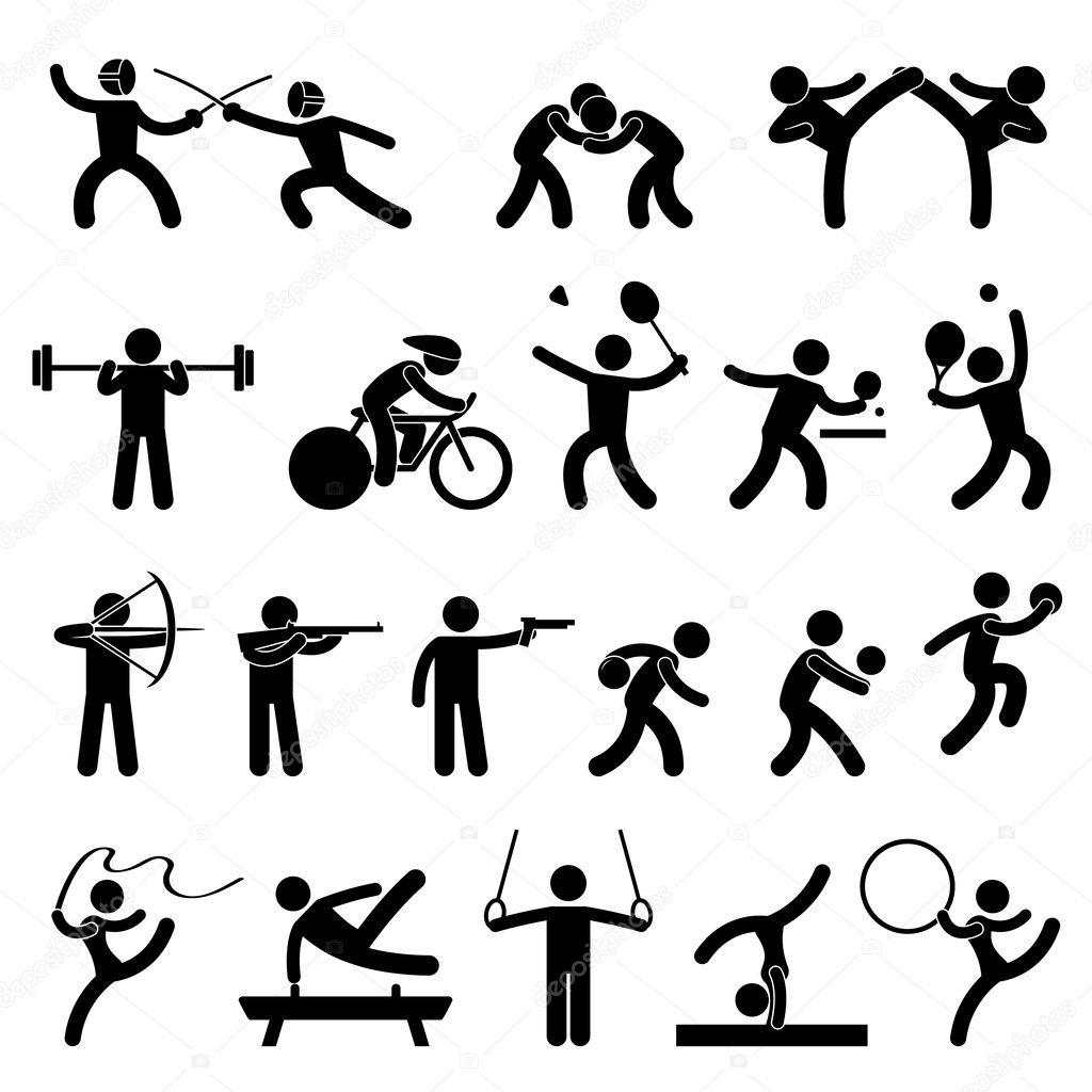 Indoor Sport Game Athletic Set Icon Symbol Sign Pictogram