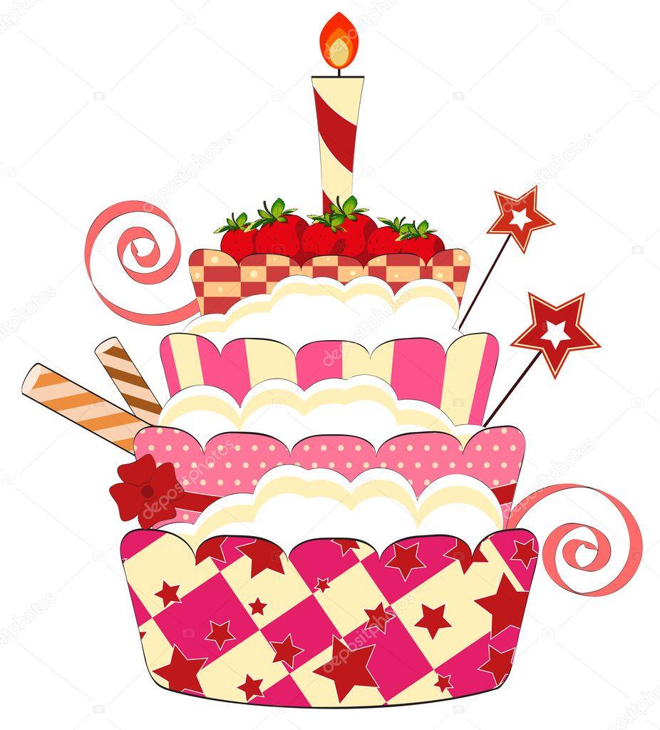 Big strawberry birthday cake  Stock Vector  elfivetrov