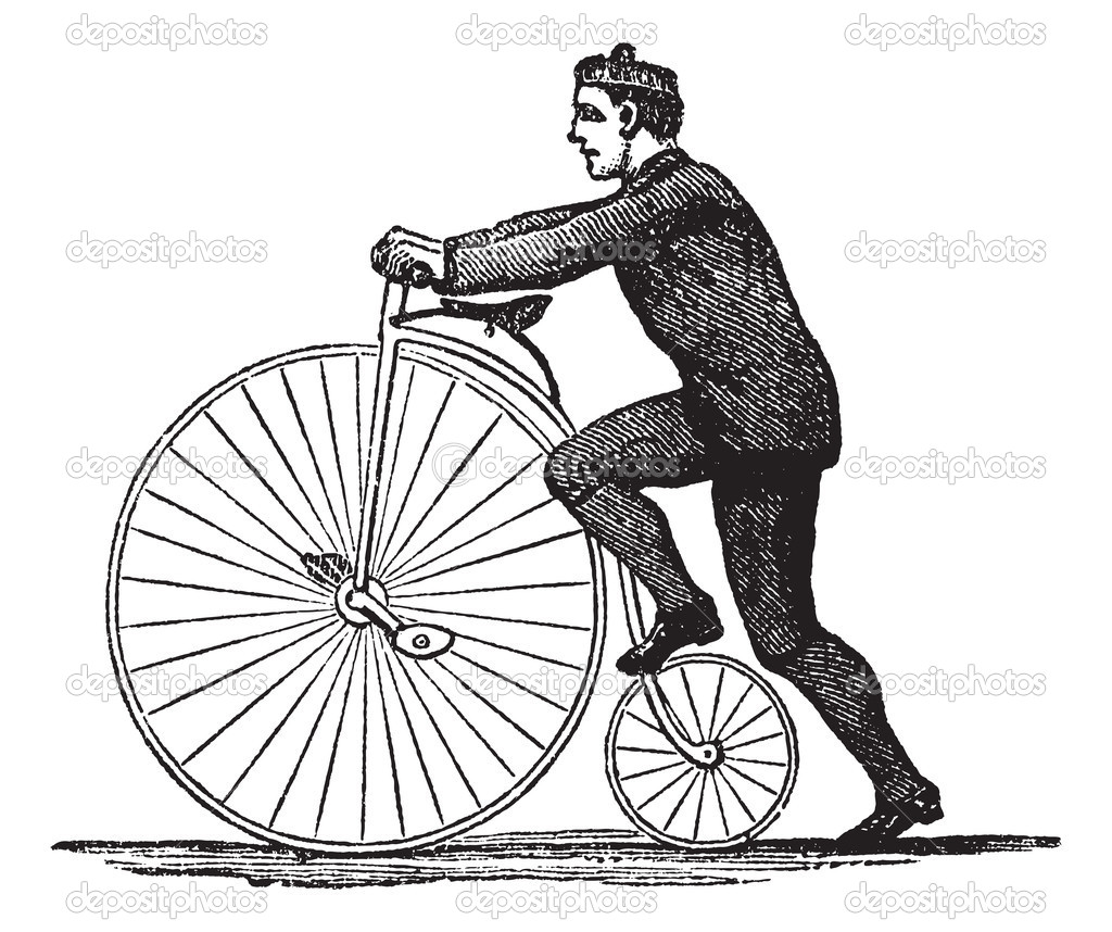 Penny Farthing Or High Wheel Bicycle Vintage Engraving