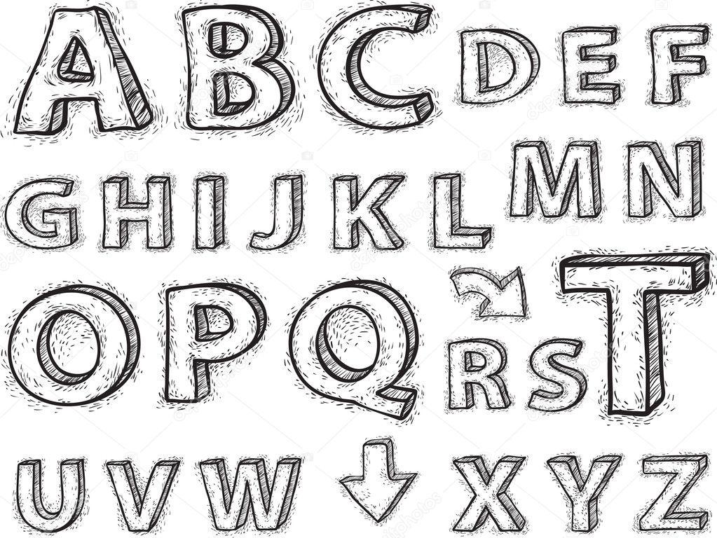 Drawing the alphabet. — Stock Vector © helehenogo #8378508
