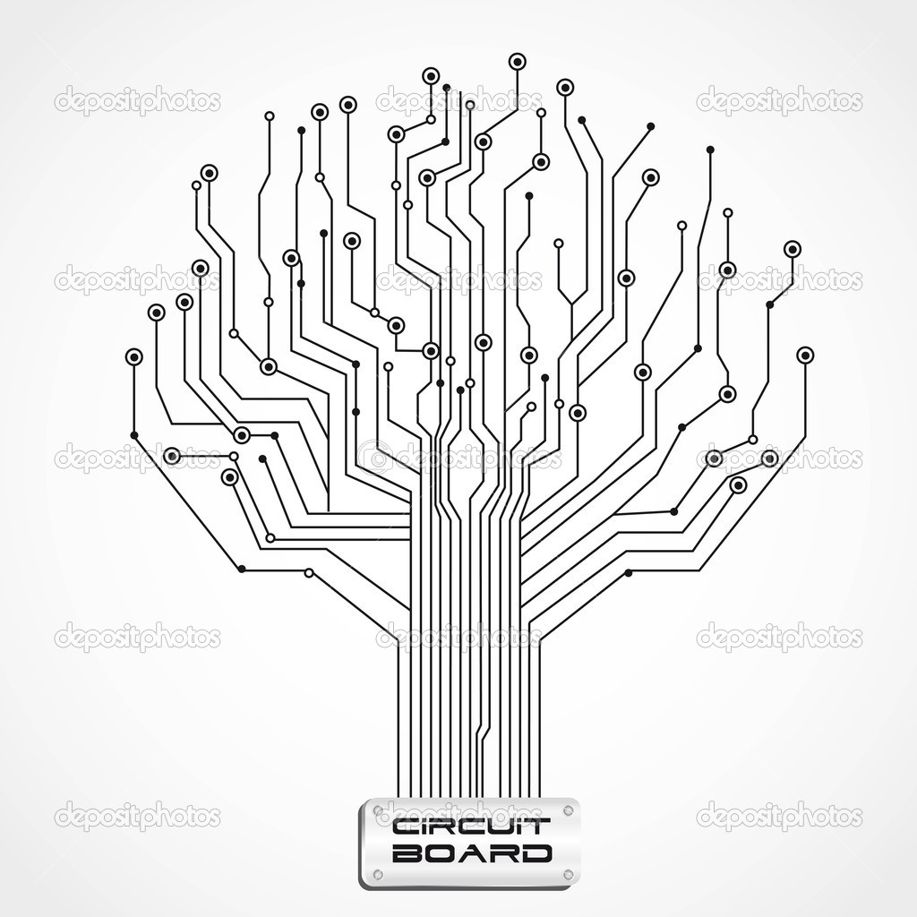 circuit board shaped tree — Stock Vector © grgroupstock