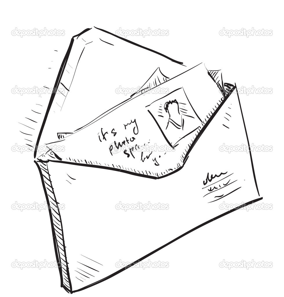 Letter and photos in envelope cartoon icon — Stock Vector