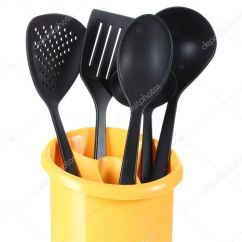 Black Kitchen Appliances Decorations For Counters 在黄色立场上白色隔离黑色厨房用具 图库照片 C Belchonock 9837432