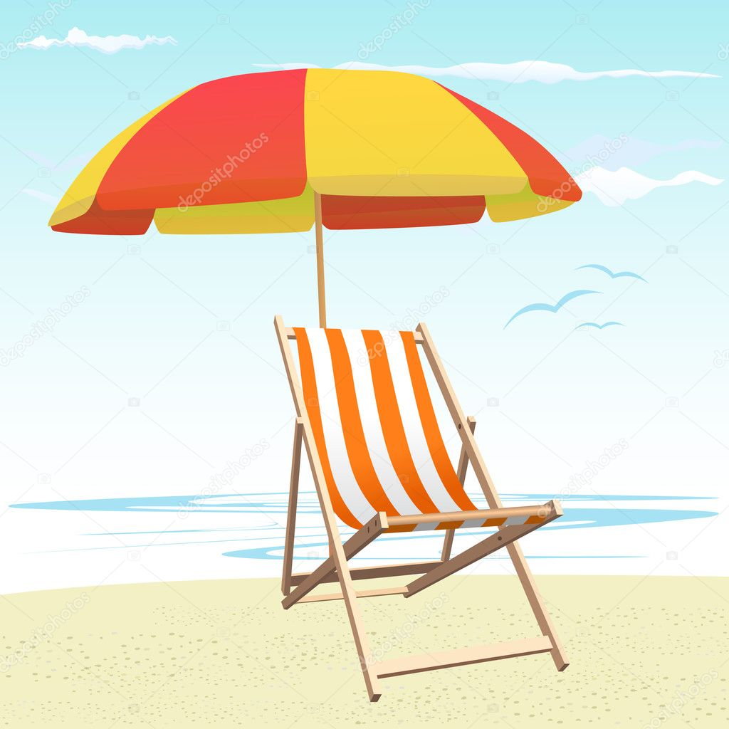 beach chairs and umbrellas pictures fisher price chair toy umbrella  stock vector bogalo 8115574