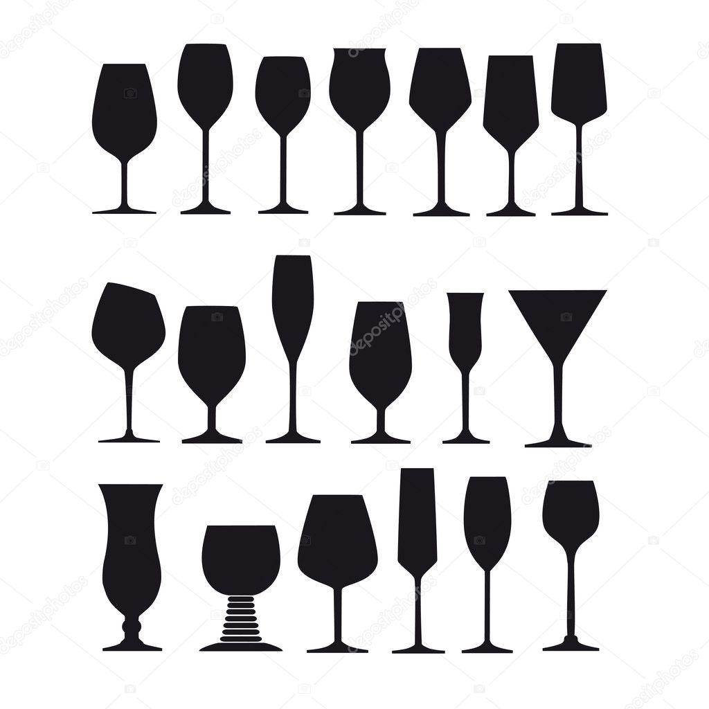 Wineglass Glasses Liqueur Cocktail Bar Longdrink Vector