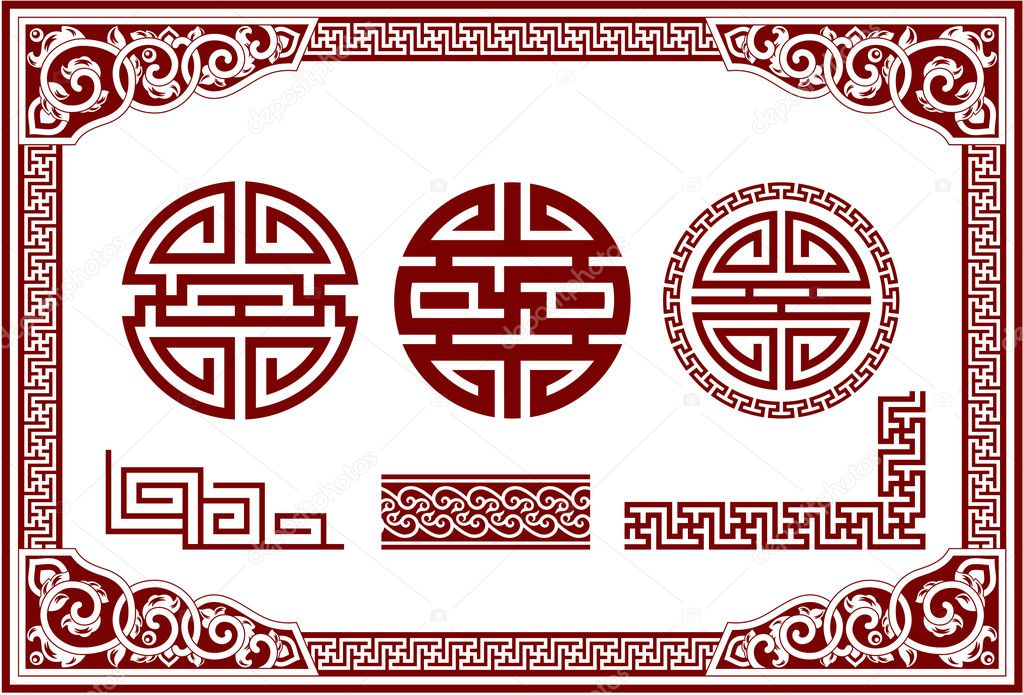 Vector Set of Oriental Chinese Design Elements  Stock