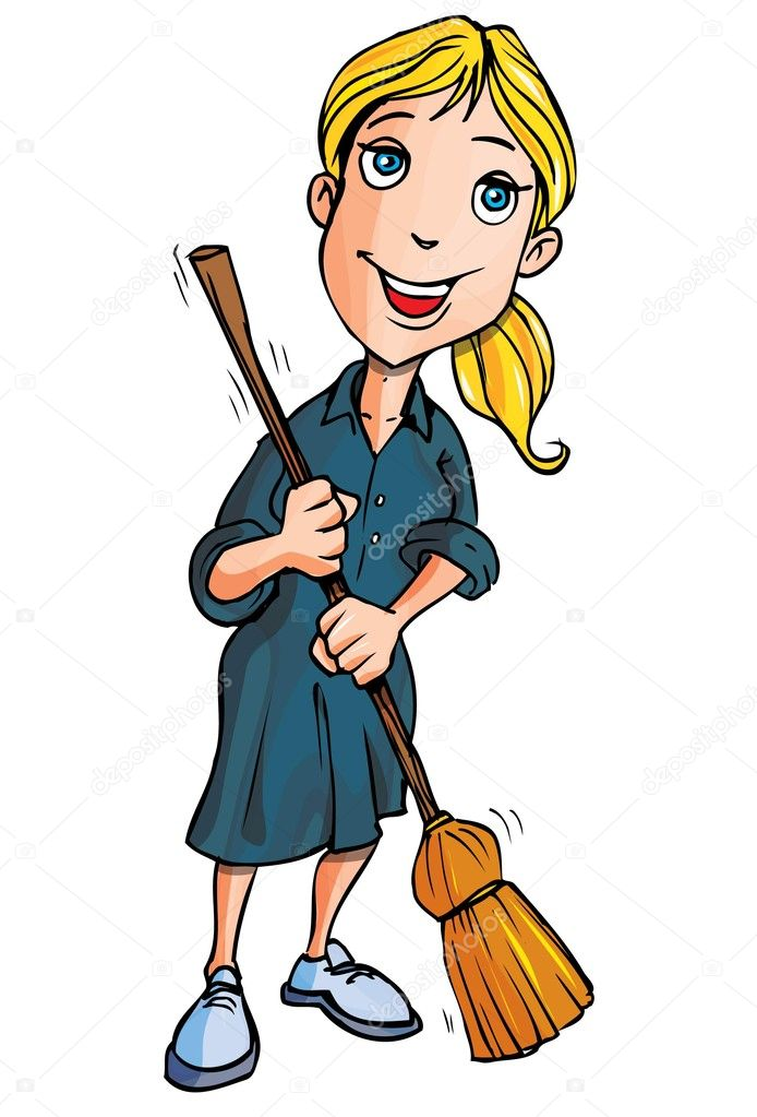 Cartoon lady cleaner with a broom  Stock Vector