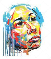 Acryl-Malerei-Farbe-Portrait von Frauen  Stockvektor ...
