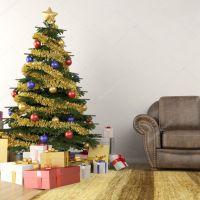 Christmas tree in living room  Stock Photo  arquiplay77 ...