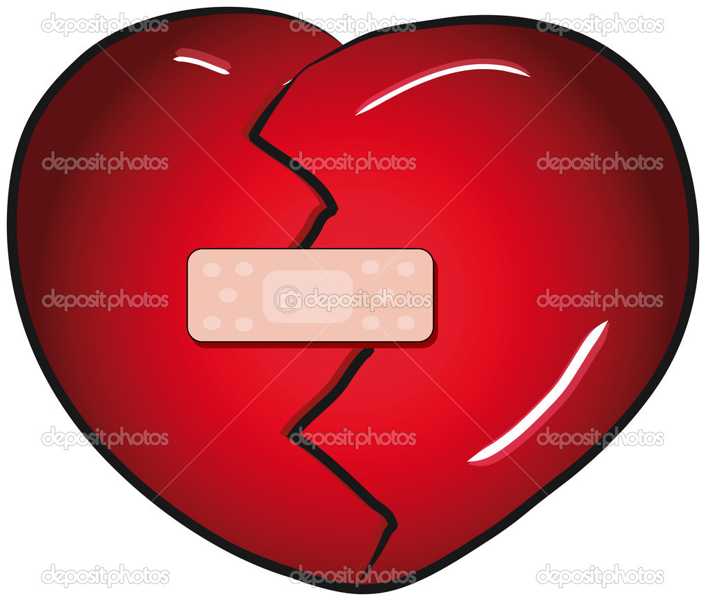 hight resolution of broken heart with a band aid vector clip art stock vector