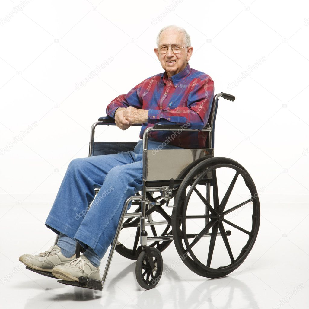 wheelchair man white leather rocking chair elderly in  stock photo iofoto 9523359