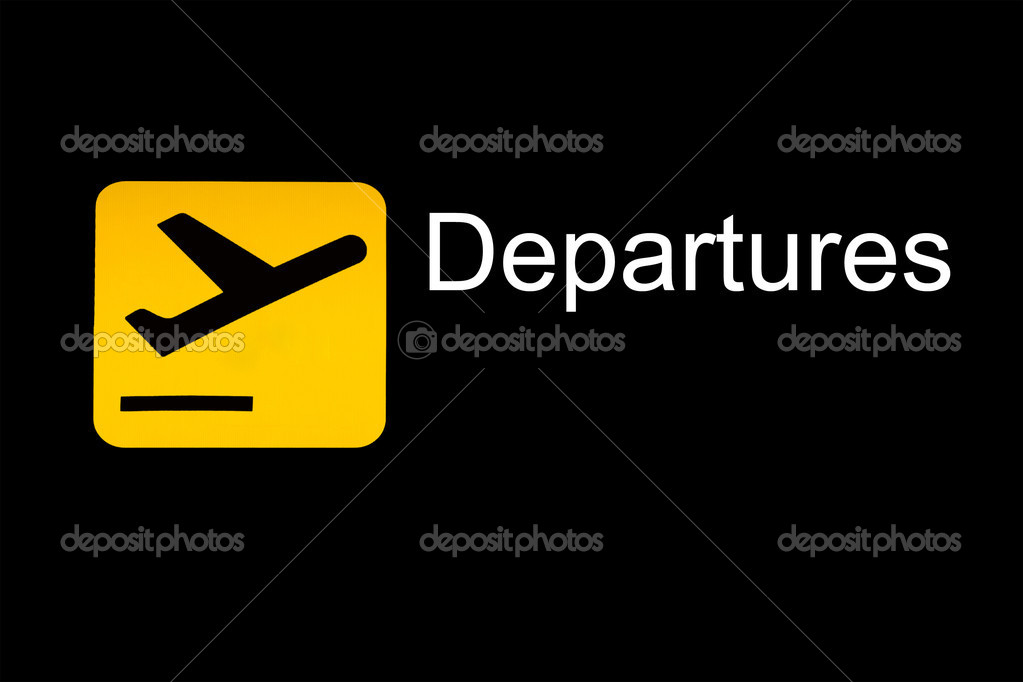airport departure sign stock