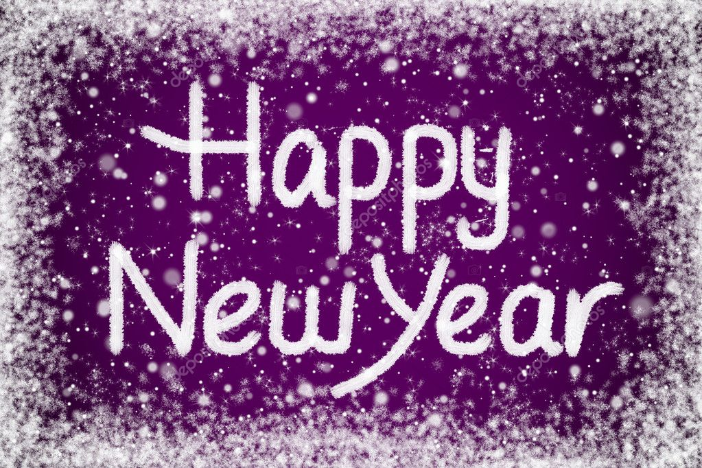 Happy New Year Message On Purple Snow Background Stock