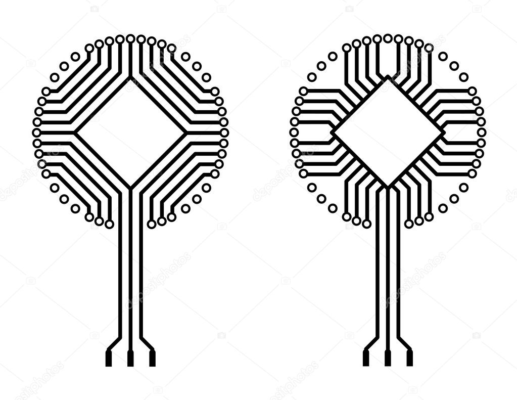 Vector logo circuit board tree shapes — Stock Vector