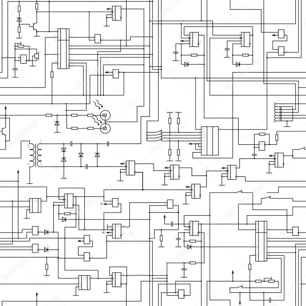 Seamless electrical circuit diagram pattern — Stock Vector