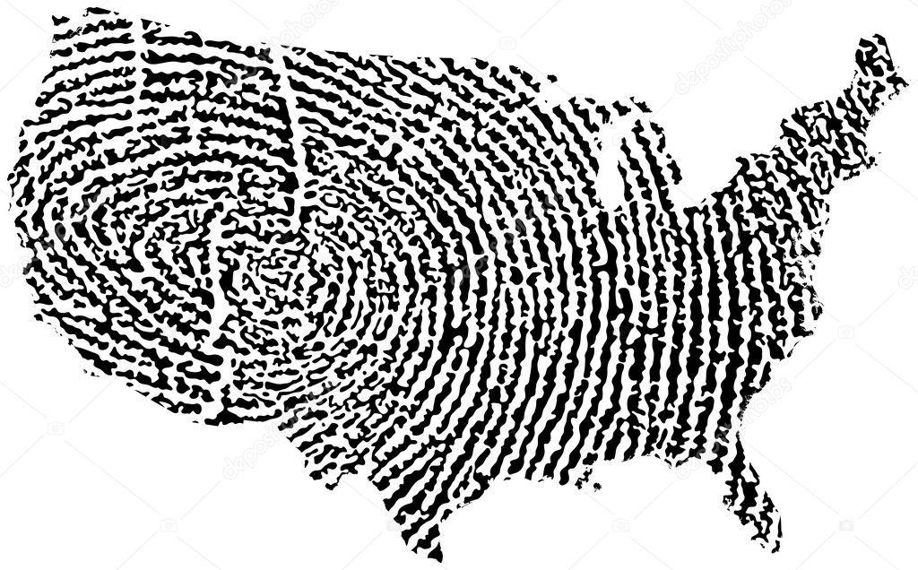 Mappa degli Stati Uniti Impronta digitale — Vettoriali