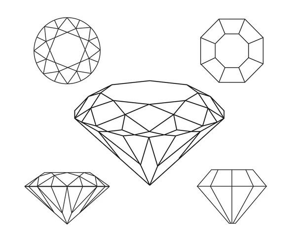 Diamonds wireframe on white background — Stock Vector