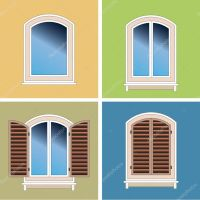 Four classical types of arched windows over stucco ...