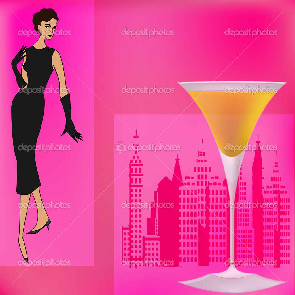 Background Illustration For A Cocktail Bar With A 1950's Feel — Vector By  Petrafler