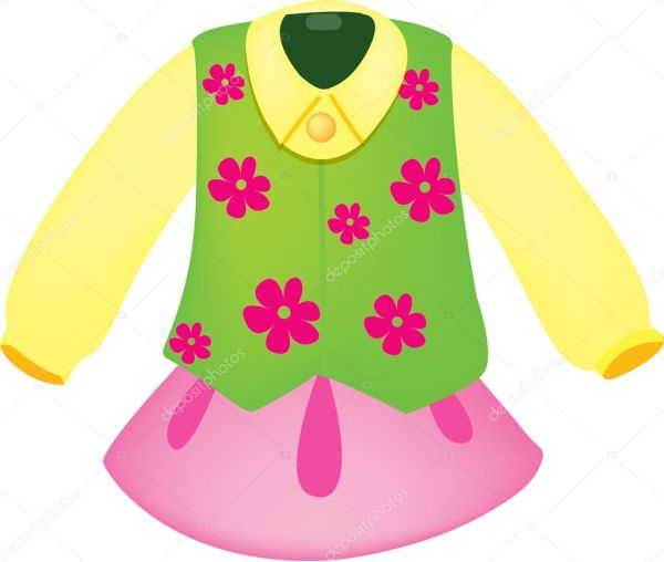 Clipart Style Cartoon Of Clothes Stock Vector