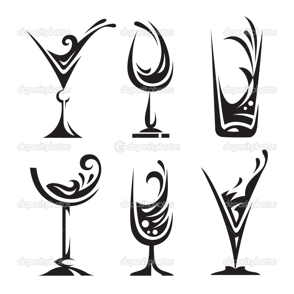 Drinking glass collection — Stock Vector © alexkava #10021280