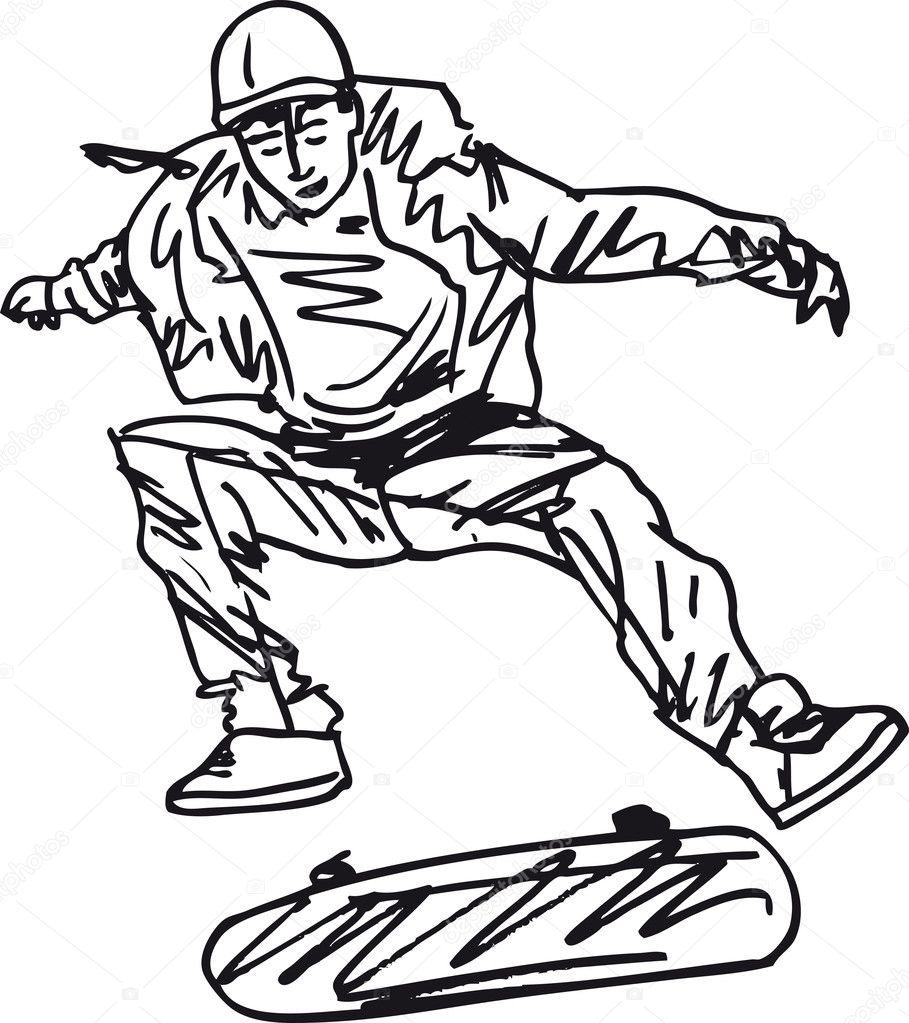 Sketch of Skateboard boy. Vector illustration — Stock