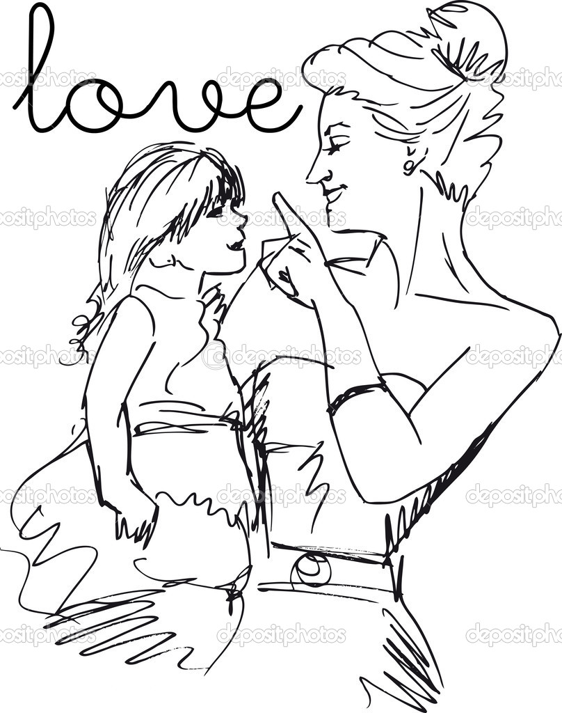 Sketch of little girl having fun with her beautiful mother