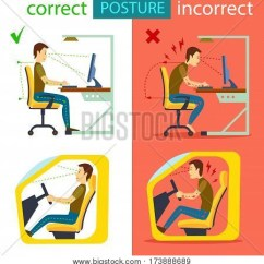 Posture Alignment Chair Eames Replica Chairs Uk Correct And Incorrect Sitting Isolated Vector Illustration Body In Working With Computer