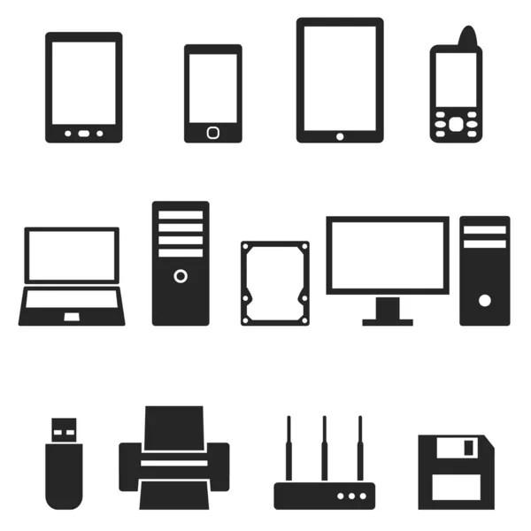 Set of computer hardware icons — Stock Vector © strejman
