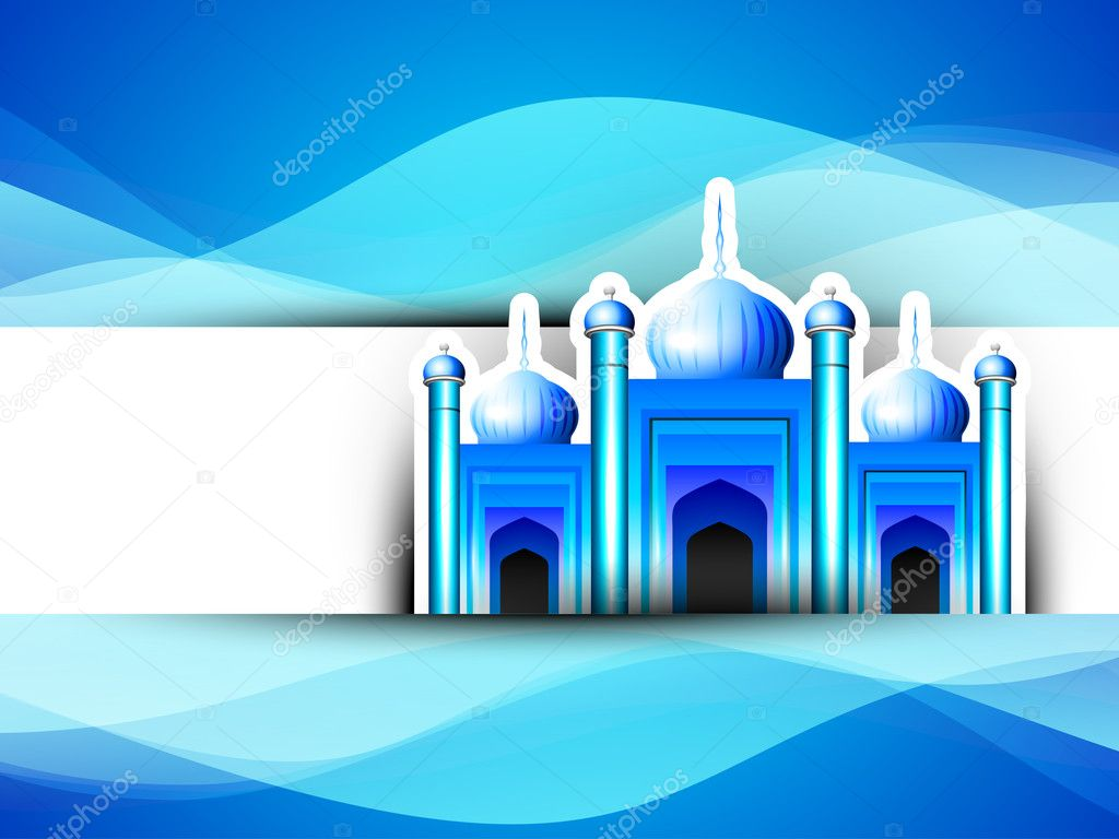 Golden Mosque or Masjid on beautiful shiny blue background