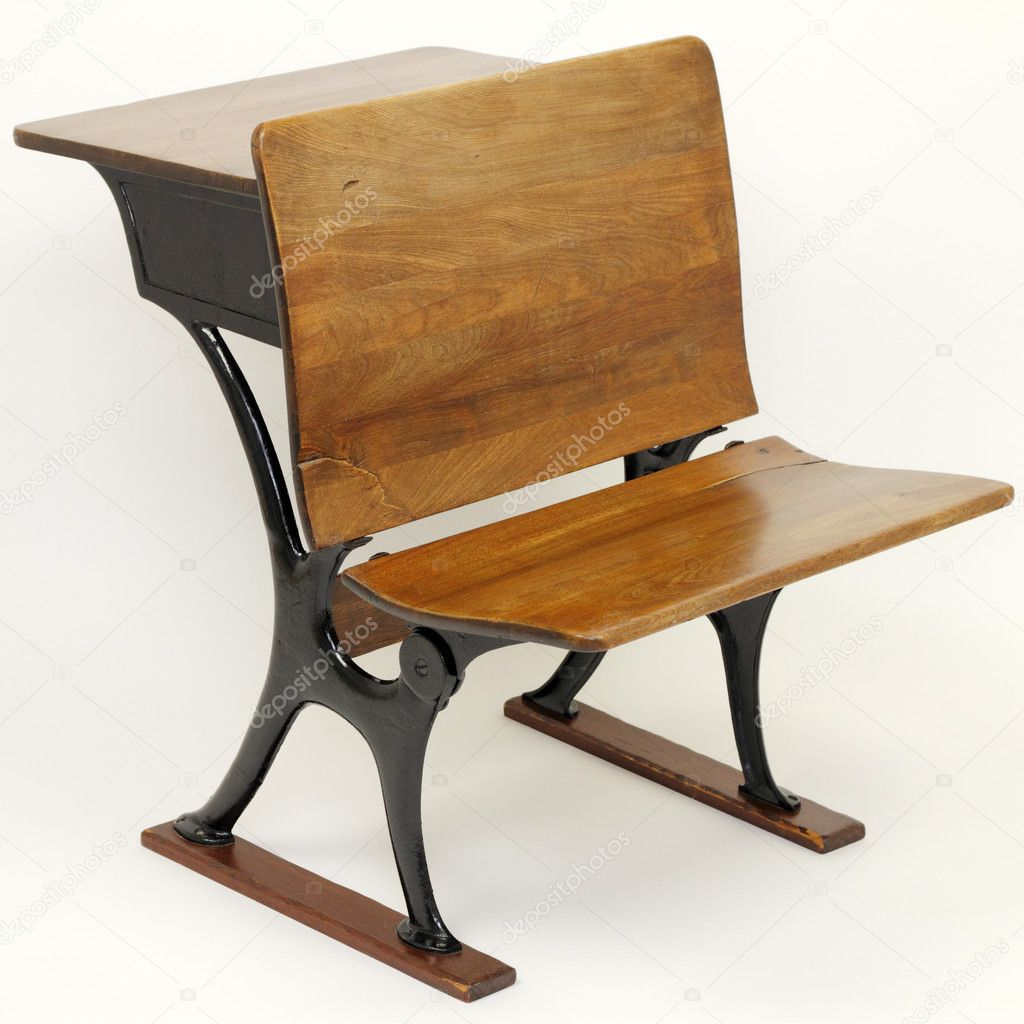 School Desk And Chair Antique School Desk Chair Combination Stock Photo