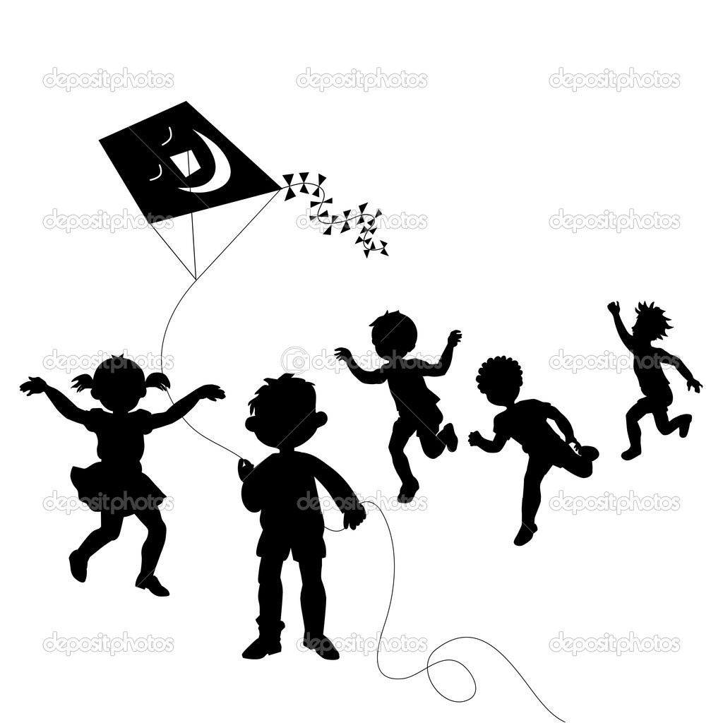 Group Of Happy Children Silhouettes