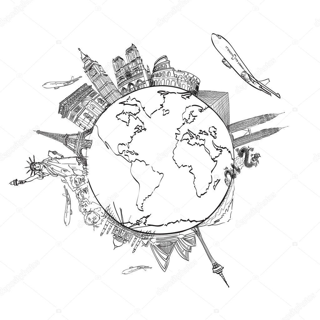 le voyage de rêve de dessin dans le monde entier dans un