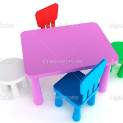 Plastic Kid Chairs Office Chair Posture Colorful And Table Stock Photo C Doomu 11846315 On A White Background By