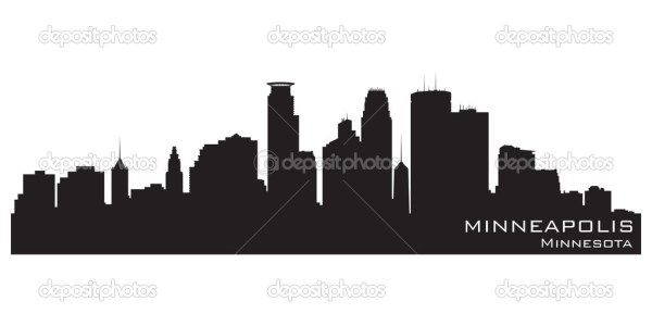 Minneapolis Minnesota skyline Detailed vector silhouette