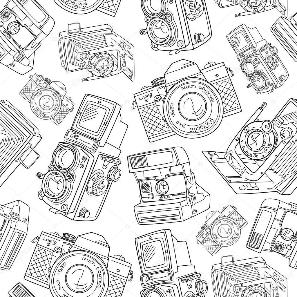 Old camera pattern — Stock Vector © AlisaFoytik #11390642